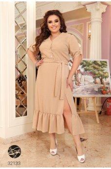 Бежевое грациозное женское платье-рубашка