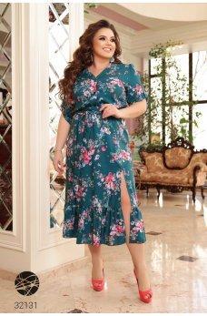 Бирюзовое великолепное платье батал с цветочным принтом