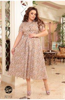 Бежевое безупречное летнее платье с принтом