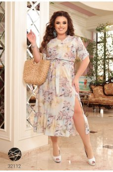 Бежевое фактурное платье-рубашка из софта