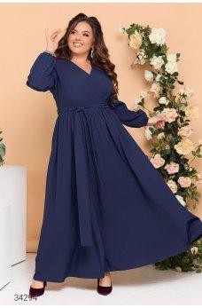 Синее роскошное женское платье макси на запах