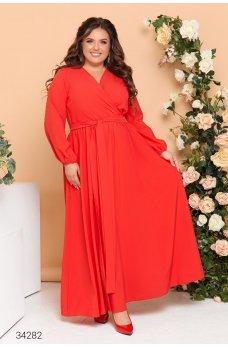 Красное яркое нарядное платье макси