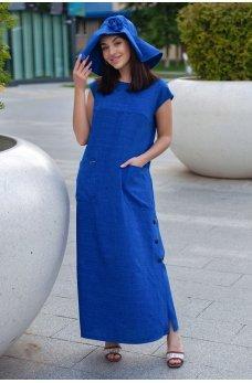 Оригинальное длинное платье цвета электрик