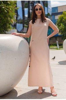Бежевое нежное платье макси