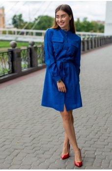 Яркое платье-рубашка цвета электрик с поясом