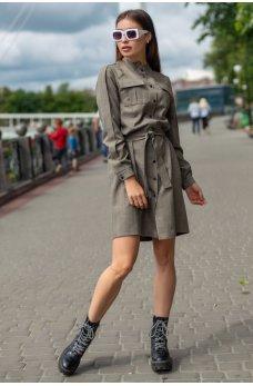 Привлекательное льняное платье-рубашка цвета хаки