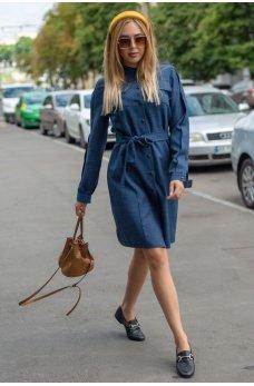 Темно-синее платье-рубашка на кнопках