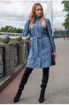 Стильное платье-рубашка джинсового цвета