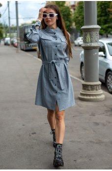 Серое льняное стильное платье-рубашка