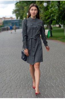 Графитовое платье-рубашка с поясом