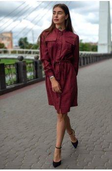 Бордовое изящное платье-рубашка с поясом