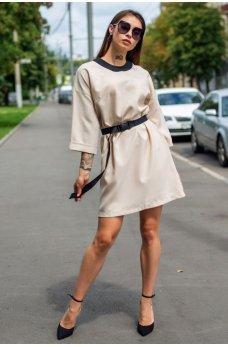 Бежевое утонченное платье с поясом