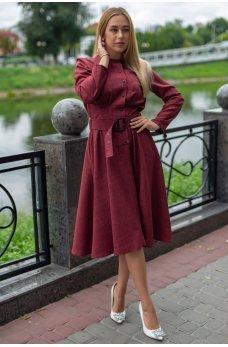Бордовое льняное платье миди