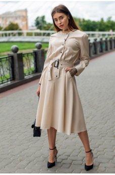 Бежевое нежное утонченное платье миди