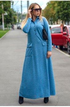 Голубое платье макси с воротником