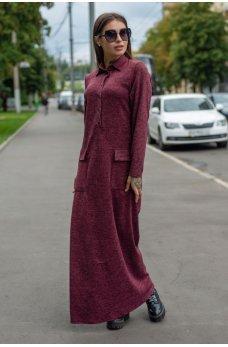 Бордовое повседневное платье макси