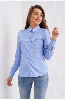 Голубая блуза прямого покроя в тоненькую полоску