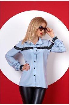 Синяя рубашка с кружевом ЦВЕТ ЭЛЕКТРИК