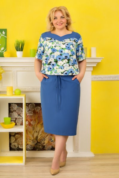 Голубое платье двойка с цветочным верхом