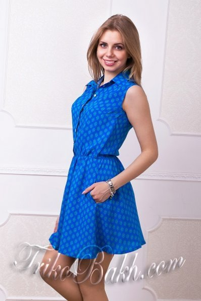 Летнее сапфировое платье штапель