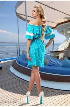 Голубое романтичное платье с воланом