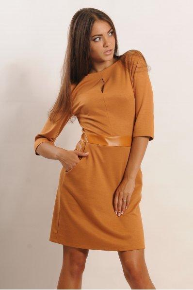 Горчичное платье с кожаными вставками