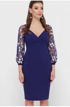 Элегантное синее платье с нежными рукавчиками
