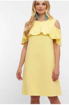 Желтое легкое платье с рюшами