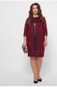 Бордовое изящное платье батал