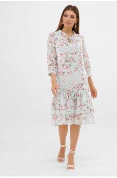 Мятное нежное платье с рюшами