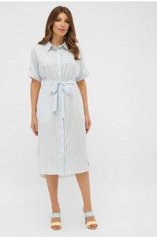 Белое легкое платье-рубашка в полоску