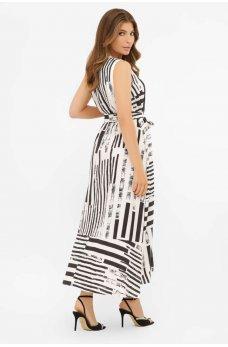 Белое длинное платье в черную полоску