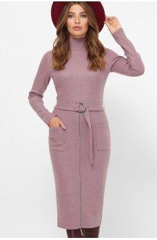 Лиловое стильное платье миди с карманами