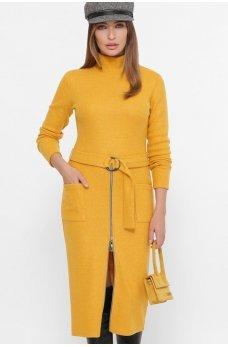 Горчичное осеннее платье миди с карманамип