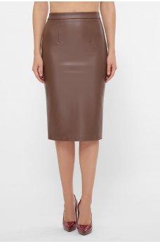 Стильная юбка миди цвета капучино