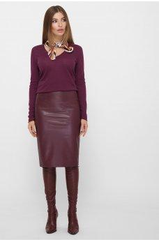 Бордовая модная юбка на флисе