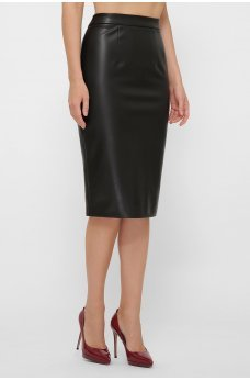 Черная изящная кожаная юбка
