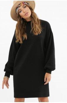 Черное свободное теплое короткое платье