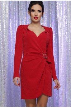 Красное яркое платье мини с люрексом