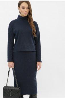 Вязаный темно-синий костюм с юбкой из трикотажа ангоры