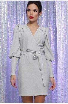 Бело-серебрянное нарядное платье с люрексом