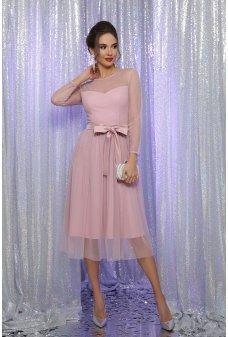 Пудровое нарядное женственное платье