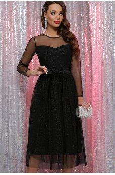 Черное роскошное блестящее платье с поясом