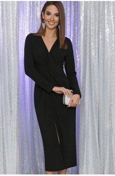 Черное роскошное платье миди с разрезом