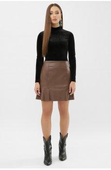 Кожаная молодежная юбка цвета капучино