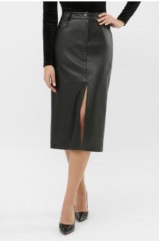Черная женственная теплая юбка из эко-кожи