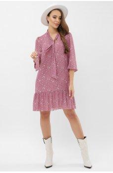 Лиловое цветочное шифоновое платье с оборкой