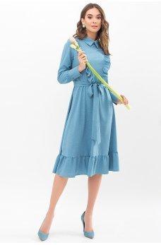 Бирюзовое умилительное платье миди с рюшею