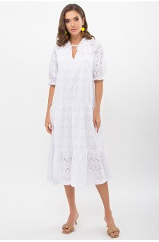 Белое актуальное летнее женское платье с оборкою