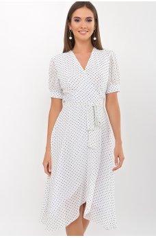 Белое игривое летнее платье с принтом в горох